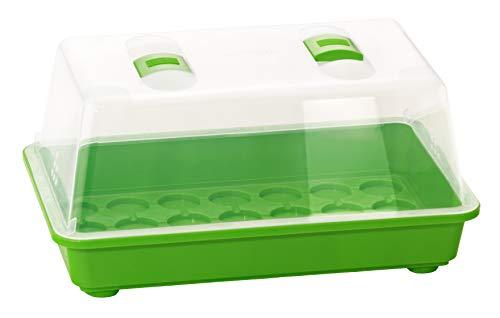 Romberg - Invernadero M (Huecos para Pastillas de Fuente, canalones de Agua, Campana con Orificios de ventilación y regulador Deslizante), Color Verde