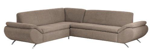 Max Winzer 28707002051753 Polsterecke Madita 2-Sitzer mit Ecksofa (gleichschenklig), samtiges Flachgewebe, sahara