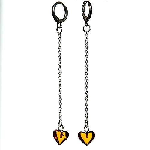 Sterling Silber 925 überzogene 12mm Hoop Kette Ohrringe mit Amber ()