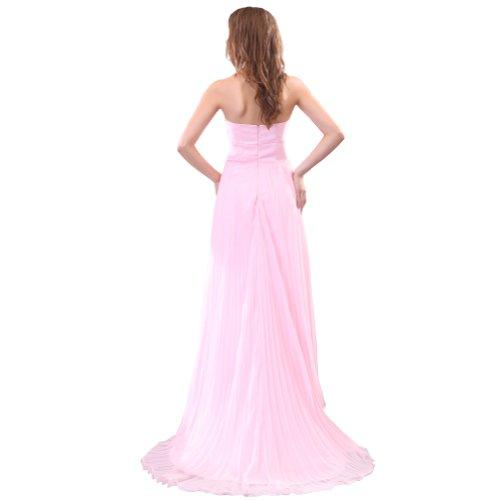 Sunvary da una linea Sweetheart Chiffon vestiti da sera, abiti da damigella d'onore Pink
