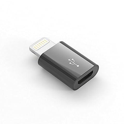 qubbi® Apple Lightning Adapter auf Micro USB in schwarz