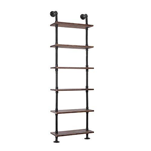 6-tier-bücherregal (iKayaa Bücherregal Haushaltsregal Wandregal Standregal aus Kieferholz und Stahl mit 6 Schicht)