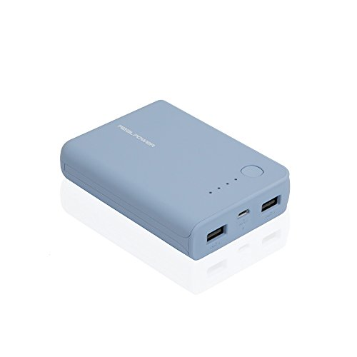 RealPower PB-10k, 10.000mAh Powerbank/Externer Akku/Ladegerät, 2 x Out (USB), LED Kapazitätsanzeige, für iphone, iPad, Samsung Galaxy und weitere, (Serenity)