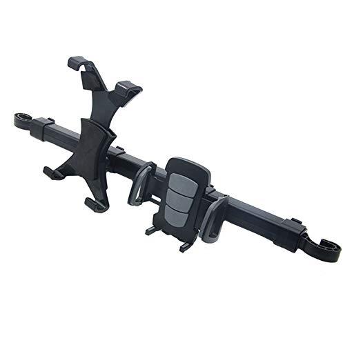 2 in 1 Auto Stuhl Rückenkissen Doppelhalterung Ipad flache Rückhalterung Handyhalterung 360 ° drehbarer Stuhlrücken schwarz WUHX