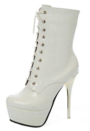 YE Damen Extrem High Heels Plateau Lack Stiefel mit Schnürung Stiletto 14cm Absatz Boots Party Schuhe Weiß