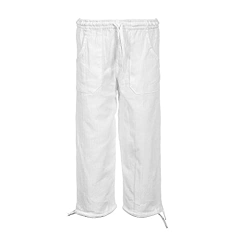 Tumia LAC - Lightweight Childrens Trousers - 100% Cotton - Breathable Comfortable Fabric - Elasticated Drawstring Waist - White - Age