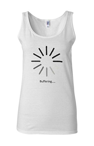 Buffering Slow Lazy Funny Novelty White Femme Women Tricot de Corps Tank Top Vest **Blanc