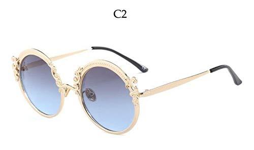Sonnenbrille Runde Vintage Designer Fashion Sonnenbrille Gradient Objektiv Sommer Schatten Luxus Katze Brille Frauen Neue Retro Goggle Gold Blau