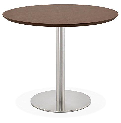 Alterego - Petite Table de Bureau/à Diner Ronde 'Indiana' en Bois Finition Noyer - Ø 90 cm