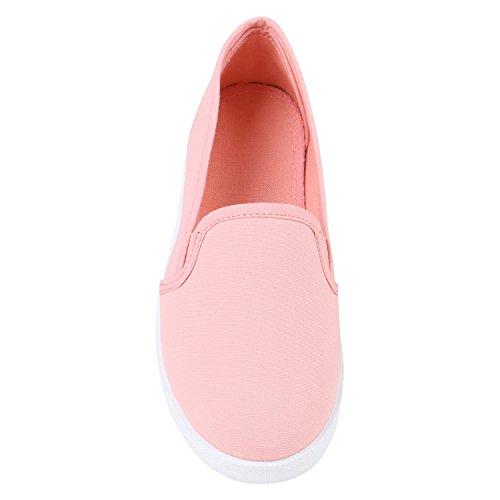 Slip-Ons Damen Glitzer Slipper Metallic Sneakers Freizeit Flats Rosa Rosa Weiss