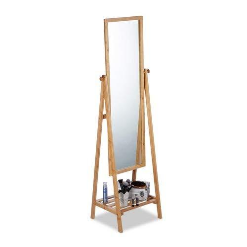 Relaxdays Standspiegel Bambus, schwenkbarer Spiegel, Ankleidespiegel mit Ablage, zum Stellen, HBT: 160x40x36 cm, Natur
