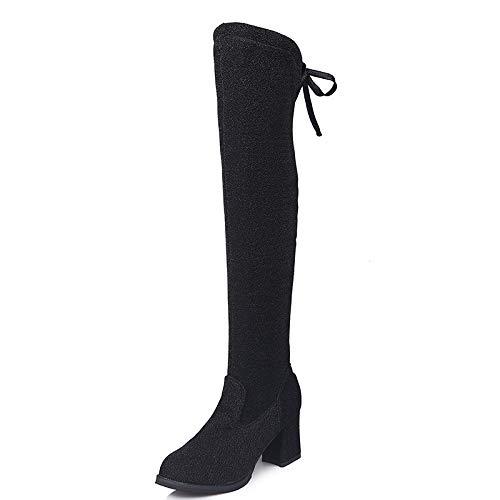 HRCxue High Heels High Tube Over The Knee Boots Gebunden mit hohem Schlauch über dem Knie Stiefel Damen dünn und dick mit Pailletten 48 Schwarz - Pailletten Knie-boot