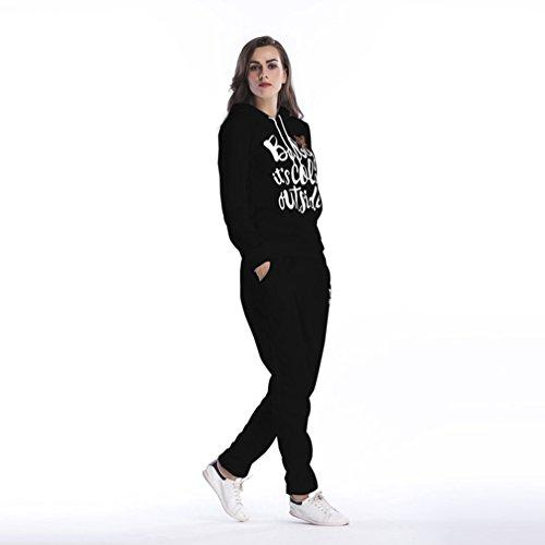 NiSeng 1Pcs Noël Sweatshirt Capuche,Femme Mode Survêtement Flocons De Neige De Noël Impression Hoodie Sweatshirt Pantalons 2Pcs Suit Noir (Ensemble)