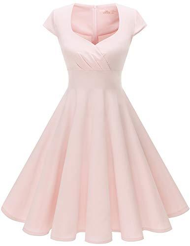 HomRain 50s Vestidos Vintage Retro Rockabilly Clásico Vestido Vendimia para Mujer Light Pink 3XL