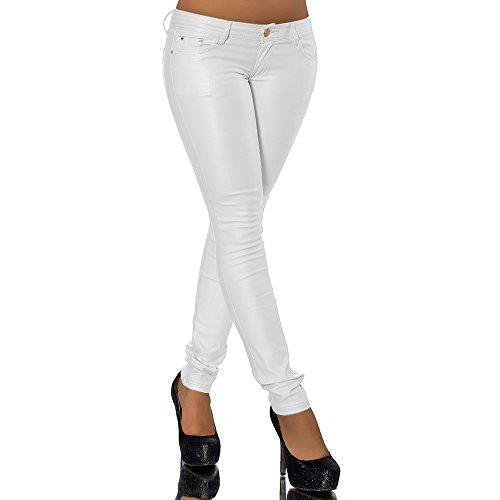 Leder Bootcut Jeans (G542 Damen Jeans Hose Hüfthose Damenjeans Hüftjeans Lederimitat Leder - Look, Farben:Hellgrau;Größen:34 (Etikett 36))