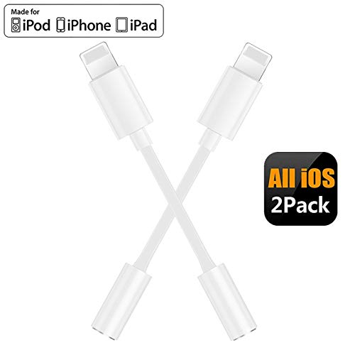 (2 Pack) Headphone Adapter for iPhone Adapter 3.5mm Jack Headset Connector Converter Headset Accessories Cable Audio Splitter Dispenser Compatible with iPhone7/7Plus /8/8 Plus/X/XR/XS/Pro Max - White
