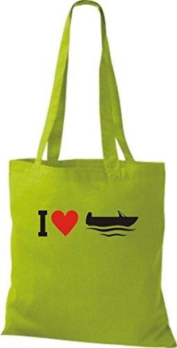 JUTA Borsa di stoffa I LOVE barca da pesca, CAPITANO Lime
