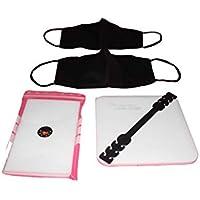 2 Protezioni facciali lavabili avente tasca, colore nero con 48 filtri TNT, scatola antibatterica e fascia per proteggere le orecchie