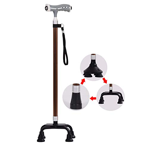 MSQL Verstellbare Stöcke Mit LED-Licht, Mit Massagegriff Und Mehreren Basen, Für Behinderte Arthritis-Senioren Und Senioren,Brown
