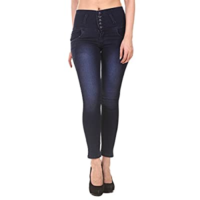 Jannon Blue Color Slim Fit Denim for Women & Girl with 5 Button