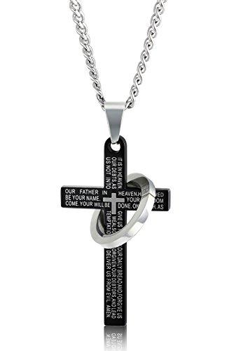 Sailimue Edelstahl Kreuze Halskette für Herren Damen Gebet Bibel Halskette 61cm in Farbe Schwarz (Für Mann Gebete Einen)