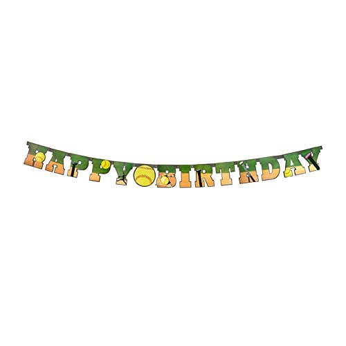 HAVERCAMP Softball Happy Birthday Banner (groß, 17,8 cm große Pappaufsteller Buchstaben Softball Party Dekoration) Mädchen Fastpitch Softball Extra Innings Collection von