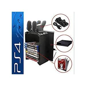 Konky – PS4 / PS4 Slim Game Storage Holder, Playstation 4 Dual Controller Ladestation Dock Vertikaler Ständer mit USB-Kühler und PS4 Video Games DVD Storage Tower