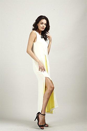 Elegante Frauen Schwarz Gelb Chiffon aermel Vorder Split Slit lang Maxi Kleid S XL Weisse und gelbe Mischfarben