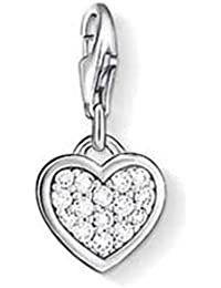 Thomas Sabo Women-Charm Pendant Heart Charm Club 925 Sterling silver Zirconia White 0967-051-14