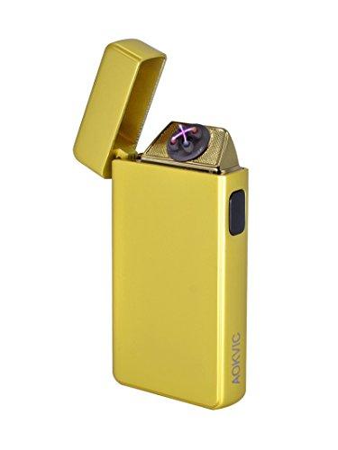 Aokvic Neues USB elektronisches Feuerzeug aufladbar lichtbogen (Gold)