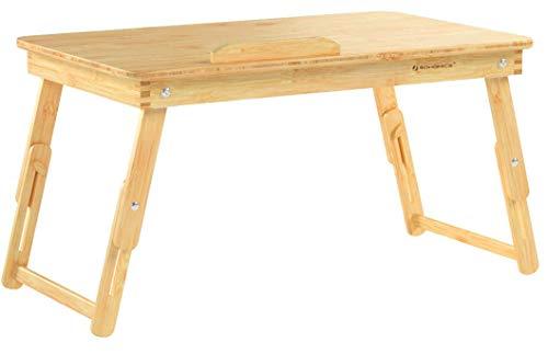 SONGMICS Table de lit pliable, en Bambou, Table pour ordinateur portable, Hauteur réglable, avec...