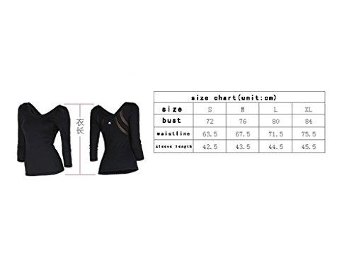 ZCJB Abbigliamento Sportivo Abbigliamento Per Il Fitness Yoga Manicotti Medi Top Elasticità Femminile Stretto Con Imbottitura Sul Petto Filo Netto Moda Abbigliamento Sottile ( Colore : Nero , dimensio Nero
