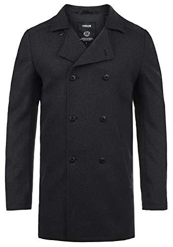 !Solid Harvey Herren Winter Mantel Wollmantel Lange Winterjacke mit Doppelreihiger Knopfleiste, Größe:XXL, Farbe:Dark Grey Melange (8288)