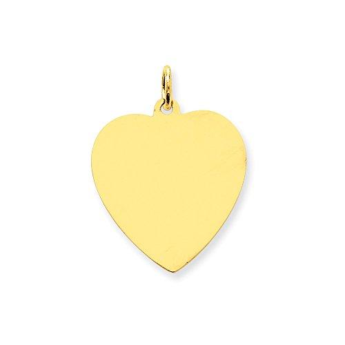 IceCarats Designer Jewellery 14K Plain .027 Gauge Engravable Heart Disc Charm