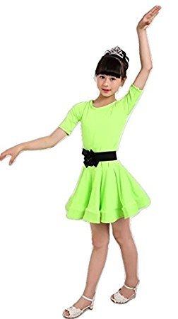 MATISSA Kinder 'S Dance Kleid Ballett lateinischer Rumba Samba Kleid Röcke Dancewear Mädchen Kids 3–15Jahre (grün, ()