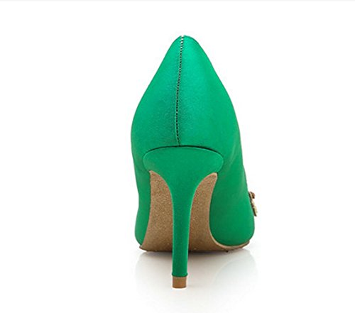 YCMDM Femmes Chaussures De Mariage Chaussures De Diamant Vert Chaussures Talons Chaussures Noires Chaussures Cheongsam green 6cm