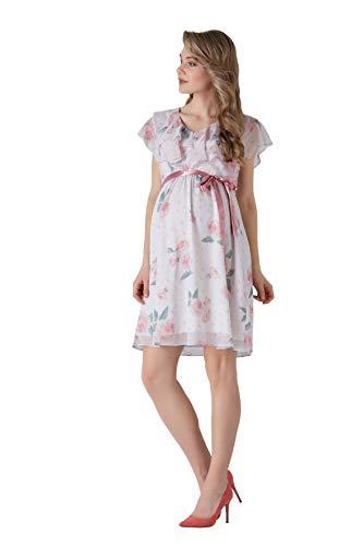 M.M.C. Rose Umstands-Kleid mit Volant und Rosen-Design - Chiffon Damen Abendkleid Cocktail-Schwangerschaftskleid - Freizeit Partykleid V-Ausschnitt Knielang Ärmellos (Rosen, 40) (Cocktail Chiffon V-ausschnitt)