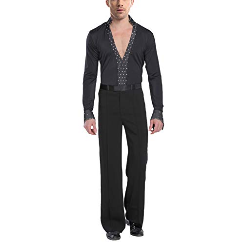 Männer Tango Kostüm Tanz - uirend Sport Tanzsport Bekleidung Herren - Männer Schwarz Latein Lange Ärmel Hemden Hosen Outfits Dancewear Kleid Kostüm Tango Rumba Jazz Party Performance