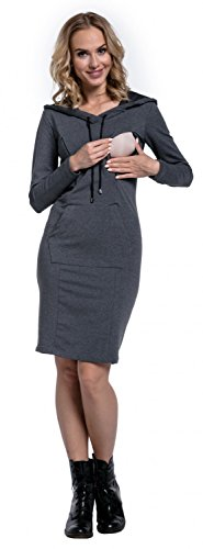 Happy Mama. Damen 2in1 Umstands Still Sweatshirt-Kleid Langen Ärmeln. 299p Graphit Melange