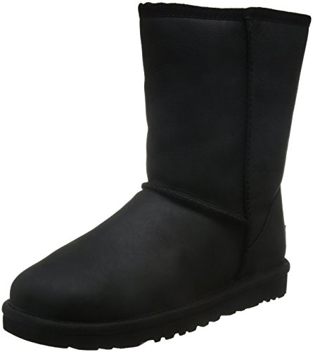 UGG Damen W Classic Short Leather Schlupfstiefel Schwarz (Black) 39 EU - Bailey Button Black Boot