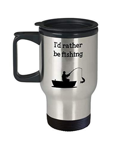 Id Rather Be Fishing Reisebecher lustig isoliert Becher Neuheit Geburtstag Weihnachten Jahrestag Gag Geschenk Idee 396 ml Silber