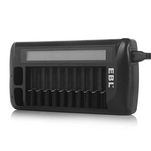 EBL 999 Universal LCD Ladegerät Akku Ladegerät für AA, AAA, 9v Block, NI-MH, NI-Cd, Li-ionen Akku, 12 individuellen Ladekanäle, LED Anzeige