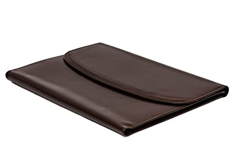 Brown Genuine Leather Writing and Conference A4 Slim Folder Folio with Clipboard