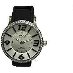 Omax Ladies Wrist Watch Black Strap Silver with Black Dial
