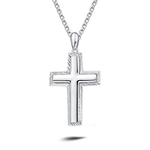 """Kreuz Anhänger mit Kette für Herren 925 Sterling-Silber Halskette 20\""""/51 cm - Silber"""