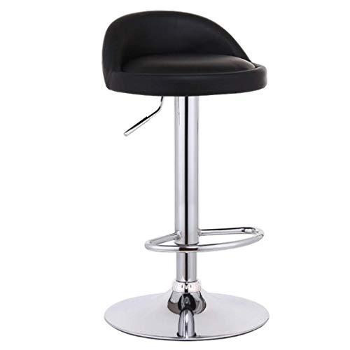 HYYDP Tresenhocker Barhocker Stuhl Barhocker Stuhl Fußstütze mit runder schwarzer PU-Sitzlehne Verstellbarer Gaslift 60~80 cm für Frühstücksbar |Café Barhocker 41cm Gestell verchromt max.Laden Sie 1