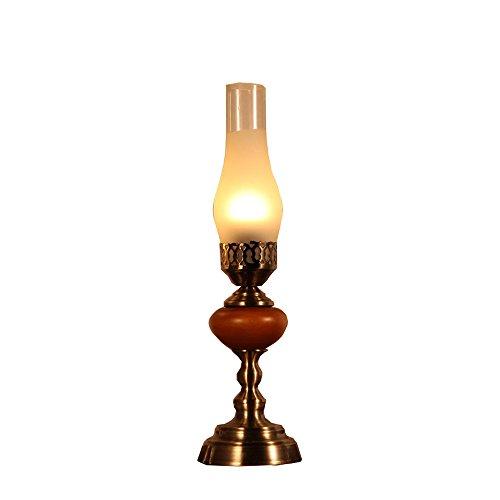 KMYX Classic Holz Tischlampe warm SCHLAFZIMMERLAMPE antikes Lampe Lampe Schreibtischlampe Licht Nostalgia lesen Tischlampe Augenschutz Büroarbeit Beleuchtung Schlafsaal Tischleuchten E27 Sockel ( Größe : Height 46cm )