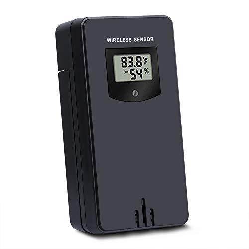 Outdoor-temperatur-sensoren (Kalawen Wireless Outdoor Sensor Schwarz Wireless Temperatur und Hygrometer Außensensor Wetterstation Sender 3 Kanal für Wetterstation und Projektionswecker)