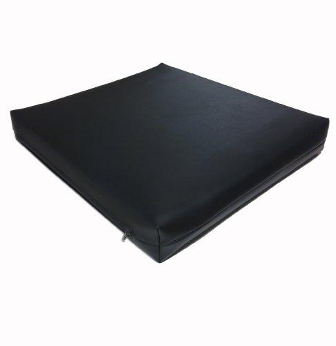 Dibapur  Rollstuhlkissen Chefsessel ca.45 cm x 45 cm x 5 cm / Schwarzen Kunstleder Bezug (Flamm hemmend) Visco Sitzkissen Viscoelastische Antidekubitus