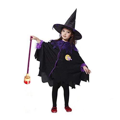 Halloween Party Set Halloween Kinder Cosplay Hexenhut + Mantel schwarz lila für Festival Cosplay Halloween Kostüm
